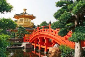 Gold pavilion in Chinese garden